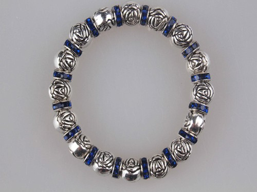 Metal Rose Bead & Duke Blue Sapphire like Spacer Stretch Bracelet